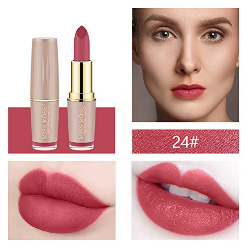 Jeeke Miss Rose Matte Gold Tube Mouth Red Brick Red Aunt Lipstick is Not Easy Kiss Lips Rich Color Serious Staying Power
