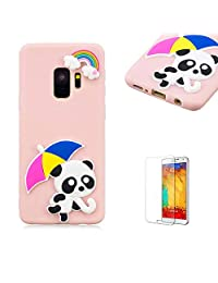 Funyye 3D Silicone Case for Samsung Galaxy S9,Stylish Cute Rainbow Panda Pattern Soft Gel Flexible TPU Cover for Samsung Galaxy S9,Shockproof Non Slip Slim Fit Rubber Durable Shell Bumper Back Protective Case for Samsung Galaxy S9 + 1 x Free Screen Protector