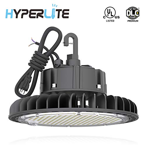 HYPERLITE LED UFO High Bay Lights 100W 5000K Coollight 14,000lm 1-10V Dimmable 5 Cable with 110V Plug Hanging Hook Safe Rope UL/DLC Approved for Barn Workshop Warehouse Residential