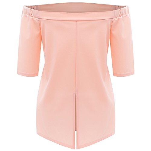 Rose Acvip Eté T Femme Casual À Blouse shirt Bateau Nu Epaule Sexy Col Pr7wxdP