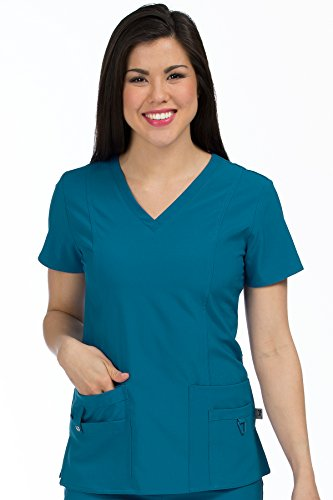 Med Couture Activate Women's V-Neck Princess Seam Scrub Top, Caribbean, Small from Med Couture