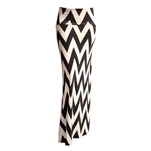 Hee Grand Women'S Rayon Span Regular To Plus Maxi Skirt Chinese XL WQC188 Black