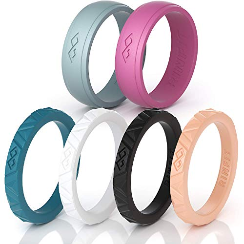 Rinfit Silicone Wedding Rings for Women 3 or 6 Ring Pack - Designed, Rubber Rings. Unique Set of Thin and Stackable Wedding Bands for Women. U.S. Design Patent Pending (5, Set #2)