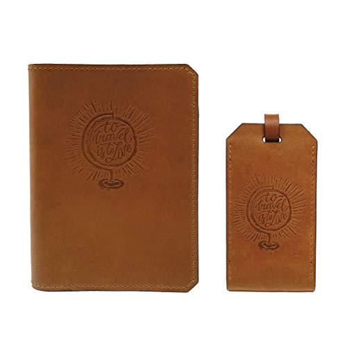 Handmade Wax Leather Embossed Travel Set – Passport Holder