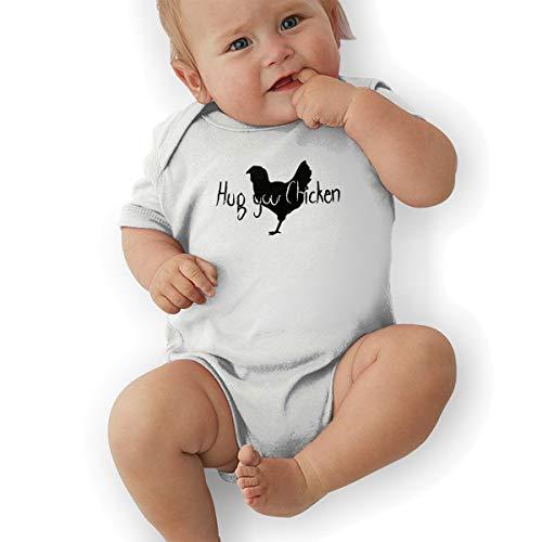Bunny Honey Child Costume - Hug Your Chicken Printed Newborn Toddler Baby Short Sleeve Bodysuits Coverall Jumpsuit White
