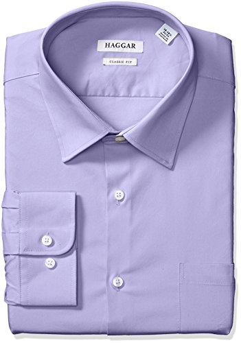 33 Wrinkle Free Dress Shirt - Haggar Dress Shirts Men's Classic Fit Performance Adjustable Spread Collar Dress Shirt, Light Purple Solid, 16-16.5 32/33