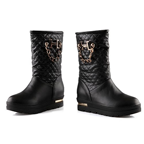 AmoonyFashion Womens Closed-toe Round-toe Kitten-heels Boots with Heighten Inside Black OublFYE