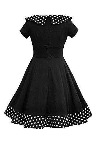 'Rhianna' Vintage Dots Polka Schwarz Swingkleid BlackButterfly RAdqwzR