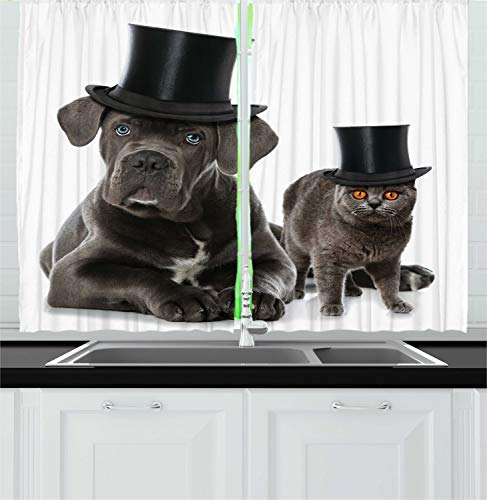 Ambesonne Dog and Cat Kitchen Curtains, Cane Corso and a Kitten in Cylinder Magician Hats, Window Drapes 2 Panel Set for Kitchen Cafe, 55 W X 39 L Inches, Charcoal - 55w Cylinder