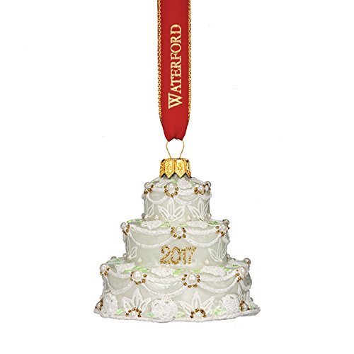 (Waterford Holiday Heirloom 2017 Our First Wedding Cake Glass Christmas Ornament - 3.3