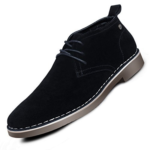 (Suede Chukka Boots for Men-Genuine Leather Lace Up Desert Boots Ankle Dress Boots Stylish Casual Shoes Black 12 D (M))