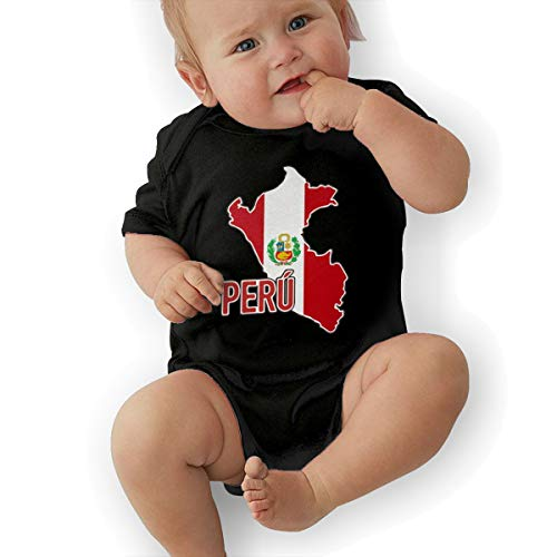 U88oi-8 Short Sleeve Cotton Bodysuit for Baby Boys and Girls, Fashion Peruvian Pride Map of Peru Jumpsuit Black -