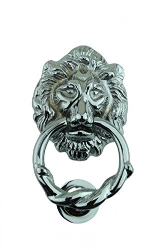 Large Chrome Cast Brass Lion Head Door Knocker 6 1/4 Inch X 3 5/8 Inch