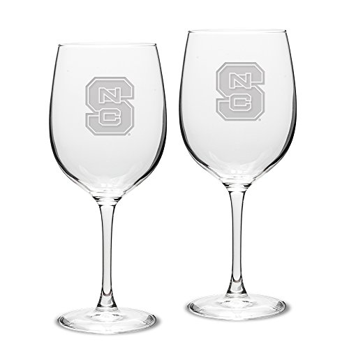NCAA North Carolina State Wolfpack Adult Set of 2 - 19 oz Robusto Red Wine Glasses Deep Etch Engraved, One Size, Clear