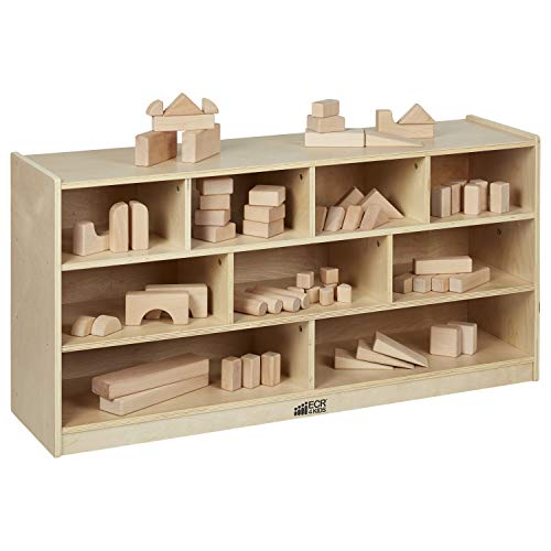 ECR4Kids Birch 9-Cubby School Classroom Block Storage Cabinet with Casters, Natural, 48