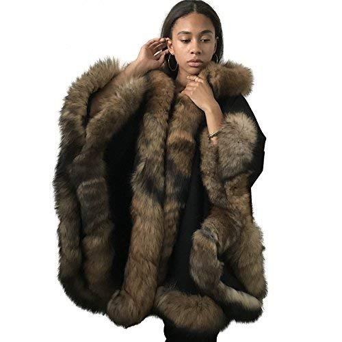 Poncho Cape hood cashmere fox fur trim ()