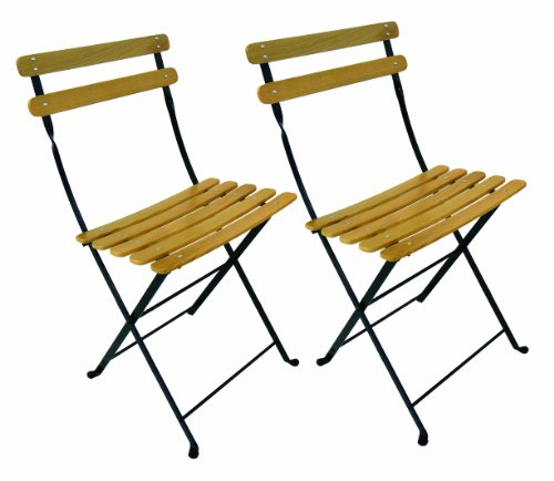 Teak Outdoor Frame - Mobel Designhaus French Café Bistro Folding Side Chair, Jet Black Frame, Clear Painted European Chestnut Wood Slats (Pack of 2)