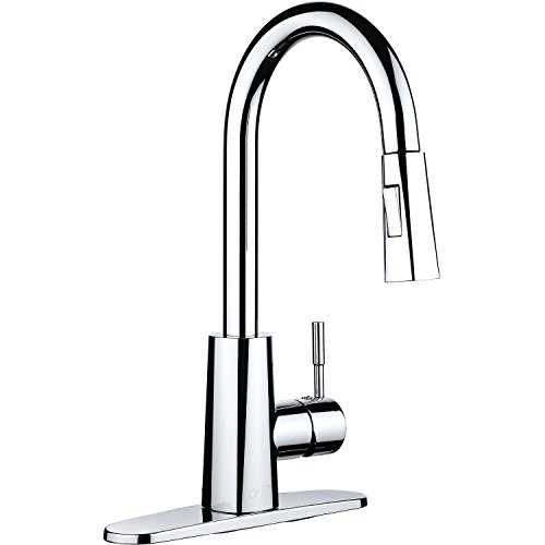 pH7 Single Handle Pull Down Sprayer Kitchen Sink Faucet Faucet Chrome Kitchen Faucets with Deck Plate and Docking System Handle 2 Hole Chrome Bar