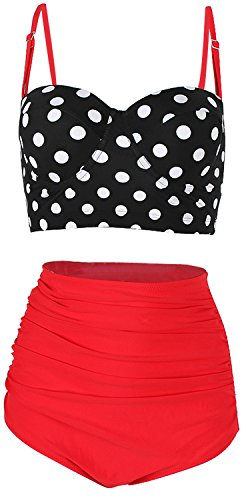 Feelingirl Womens Vintage Underwire High Waisted Swimsuit Two Piece Bathing Suits Polka Dot Bikini Xl Red
