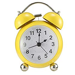 Twin Bell Alarm Clock, Drillpro Wind-Up Loud Bell Alarm Clock with night light, Large 4-inch dial with audible alarm for Heavy Sleepers-Battery Operated (Not Included) Yellow