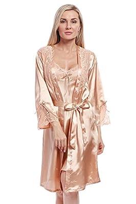 BellisMira Women's Long Satin Robe Bridal Kimono Lace Trim Nightgown Soft Pajamas Dressing Gown Sleepwear