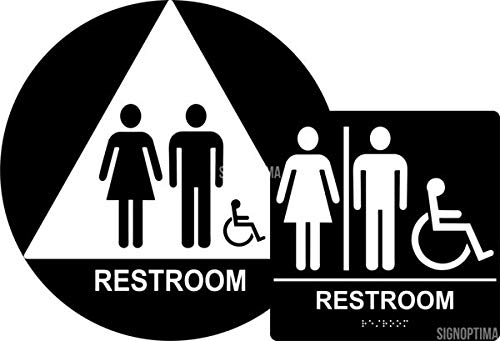 Unisex Restroom Sign Set,(Wall + Door) Signs (Black/White)