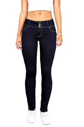 Wax Women's Juniors Body Flattering Mid Rise Skinny Jeans (11, Dark Denim)