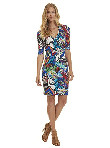 Robert Graham Anna Long Sleeve Knit Dress Multi (Silk Jersey Surplice Dress)