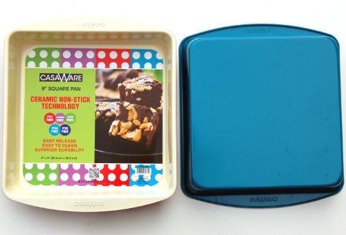 casaWare Ceramic Coated NonStick 9-Inch Square Pan (Cream/Blue) (9x9 Ceramic Baking Pan compare prices)