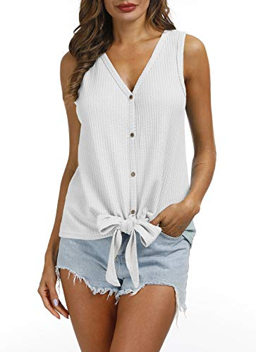 (IRISGOD Womens Waffle Knit Shirt Casual Tie Front Knot Button Up Plain Henley Tank Tops White)