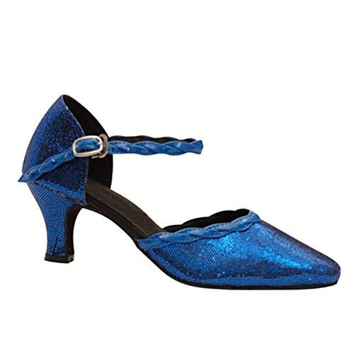 Round Women's Heel Shoes W979 Blue Dance Chunky Salsa Dance Toe Shoesland Tango Ballroom Latin qwRE5xZF5