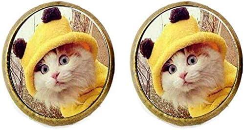 Pendientes de gato amarillos para ropa, arte de gato, joyería ...