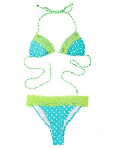 RELLECIGA Conjunto de Encaje Tri¨¢ngulo Bikini para mujer Traje de ba?o con el bolso impermeable gratuito Blue polka dot + green lace