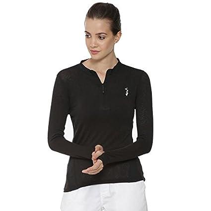 Campus Sutra Solid Women Mandarin Collar Black Sports Jersey