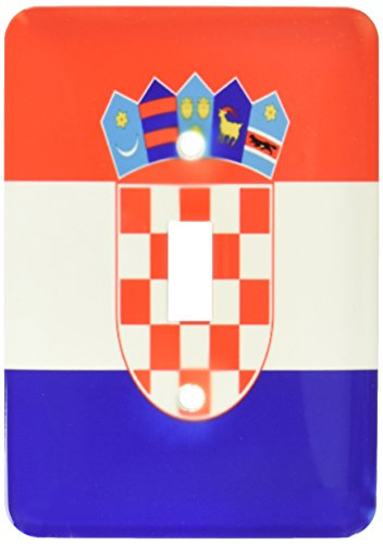 3dRose lsp_158301_1 Flag of Croatia Croat Red White Blue Stripes Croatian Coat of Arms Shield Europe Country World Single Toggle Switch ()