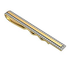 10k Solid Gold Diamond Studded Tie Pin Clip with 0.75 Carat Diamonds (tccw)