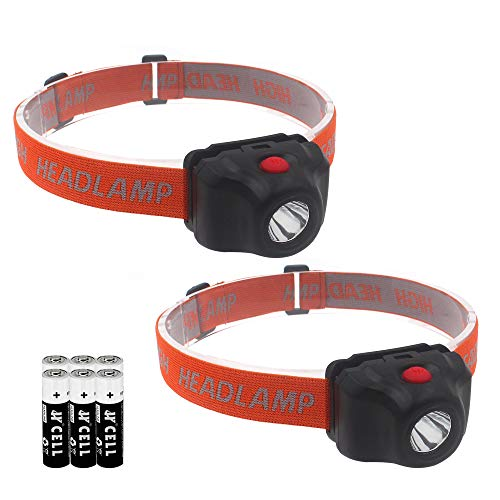 2 Pack Headlamp Flashlight, LED Headlamp Single Mode, Adjustable Headband, Lightweight, Perfect for Trail Running, Camping, Hiking, 6 AAA Batteries Included