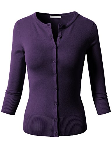 H2H Womens Unique Ultra Stretch 3/4 Sleeve Crewneck Knit Cardigan Grape US S/Asia S - Acrylic Spandex Purple