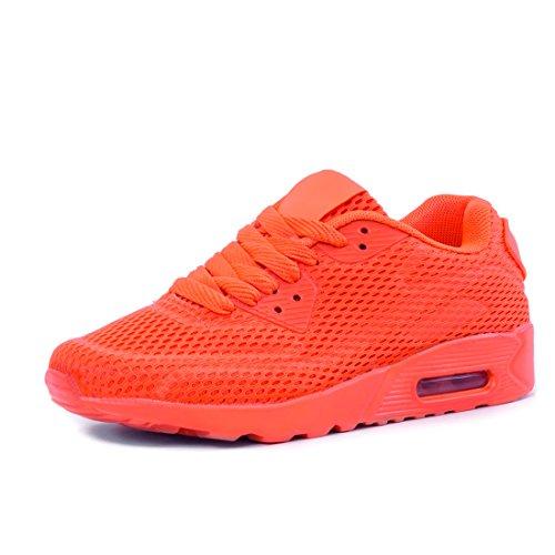 Marimo Mode Enfants Unisexe Femmes Chaussures De Course Hommes Lacent Sport Fitness Baskets En Mesh Orange