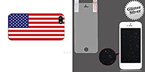 Combo pack Cellet Black Proguard with America Flag for Apple iPhone 5 And MYBAT Glitter LCD Screen Protector/Silver for APPLE iPhone 5