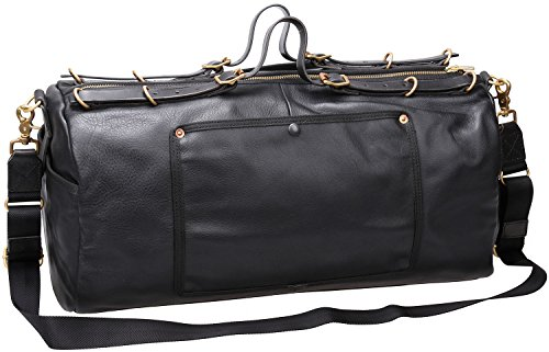 Iblue Genuine Leather Travel Weekend Bag Carry On Duffel Tote Luggage Black D04 (black) by iblue
