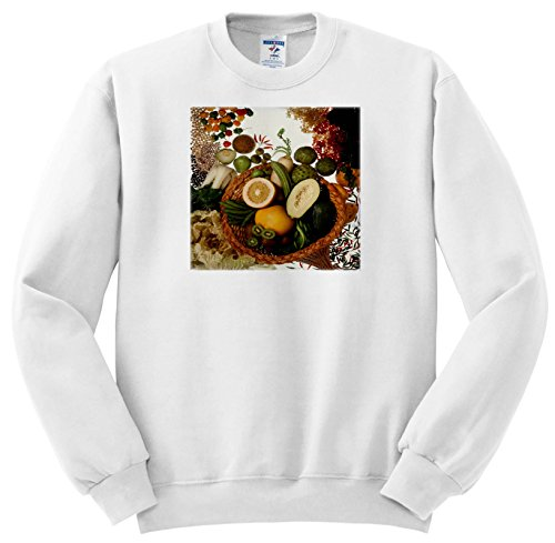(3dRose TDSwhite - Farm and Food - Food Healthy Fruits Vegetables Basket - Sweatshirts - Adult Sweatshirt Small (ss_285155_1))