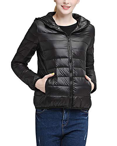 Inverno Donne Packable Di Incappucciati Delle Zip Gladiolusa Leggero Full Cappotto Jacket Nero RF7n4qW