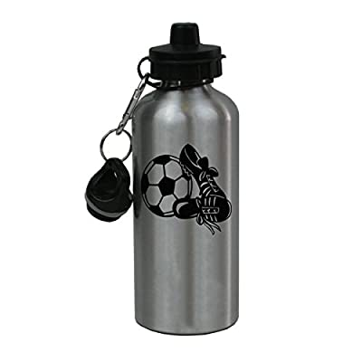 Personalized Custom Soccer Aluminum Silver Finish 20 Ounce Water Bottle Customizable