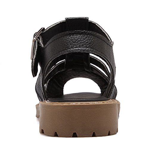 AllhqFashion Womens PU Low Heels Peep Toe Solid Buckle Sandals Black YHLyPsh
