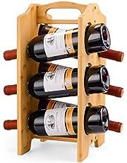 Sunix Bamboo Wine Rack Countertop Bottle Holder Organizer Portable Wine Stand for 6 Bottle Wooden Storage