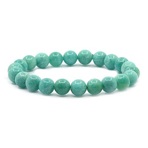 (Justinstones Natural AA Brazilian Amazonite Gemstone 8mm Round Beads Stretch Bracelet 7