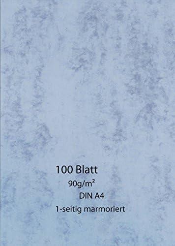 Marmor-Papier 100 Blatt - einseitig - blau - 90g - A4