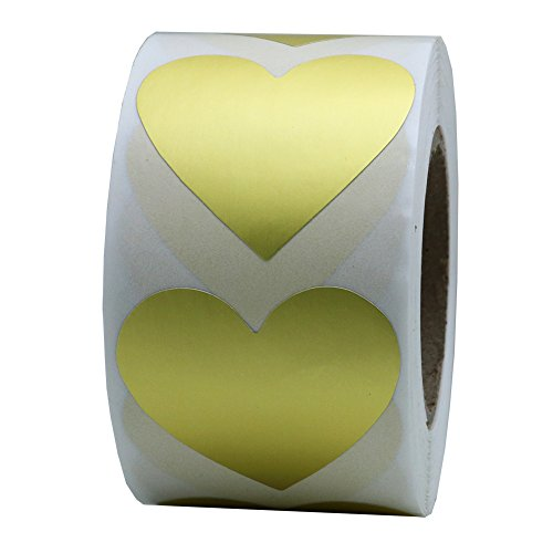 Hybsk Gold Love Heart Stickers 1.5 Inch Adhesive Label 500 Per Roll (1 Roll)