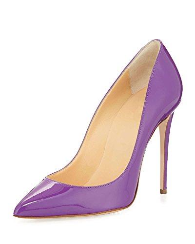 EDEFS Damen Schuhe Pumps High Heels Beige Spitze Brautschuhe mit Stilettos Absatz Violett